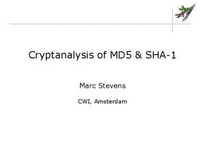 Cryptanalysis of MD5 & SHA-1