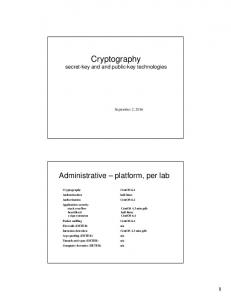 Cryptography. Cryptography