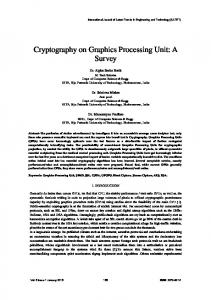 Cryptography on Graphics Processing Unit: A Survey