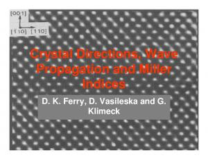 Crystal Directions, Wave Propagation and Miller Indices. D. K. Ferry, D. Vasileska and G. Klimeck