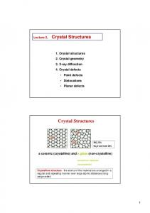 Crystal Structures. Crystal Structures