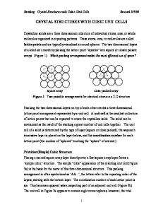 CRYSTAL STRUCTURES WITH CUBIC UNIT CELLS