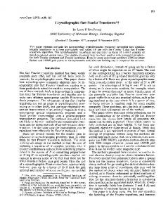 Crystallographic Fast Fourier Transforms*?