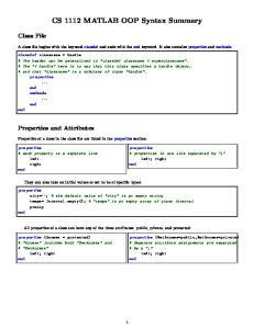 CS 1112 MATLAB OOP Syntax Summary