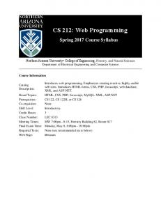 CS 212: Web Programming