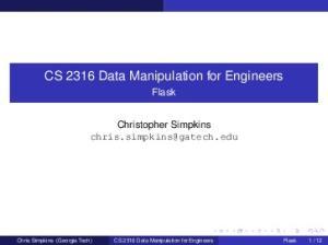 CS 2316 Data Manipulation for Engineers
