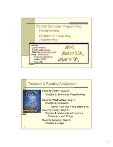CS 259 Computer Programming Fundamentals. Chapter 2: Elementary Programming
