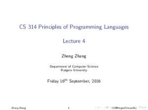 CS 314 Principles of Programming Languages. Lecture 4