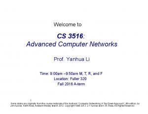 CS 3516: Advanced Computer Networks
