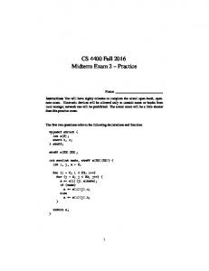 CS 4400 Fall 2016 Midterm Exam 2 Practice