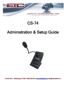 CS-74. Administration & Setup Guide