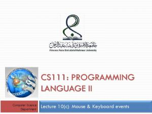 CS111: PROGRAMMING LANGUAGE II
