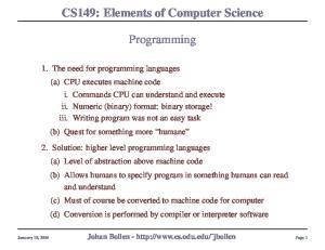 CS149: Elements of Computer Science. Programming