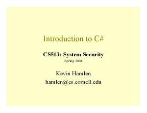 CS513: System Security
