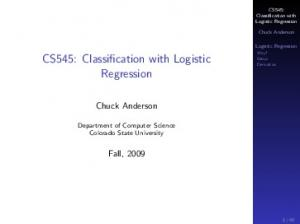 CS545: Classification with Logistic Regression