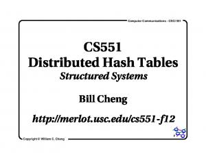 CS551 Distributed Hash Tables Structured Systems