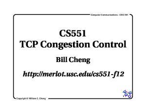 CS551 TCP Congestion Control