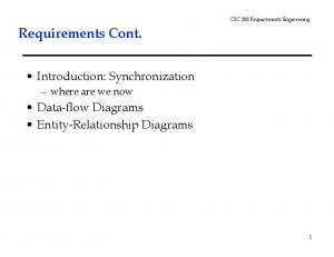 CSC 308 Requirements Engineering. Requirements Cont. Introduction: Synchronization. where are we now. Data-flow Diagrams Entity-Relationship Diagrams