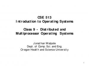 CSE 513 Introduction to Operating Systems Class 9 - Distributed and Multiprocessor Operating Systems