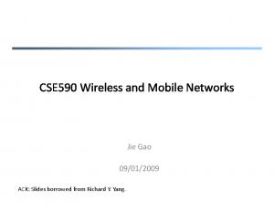 CSE590 Wireless and Mobile Networks