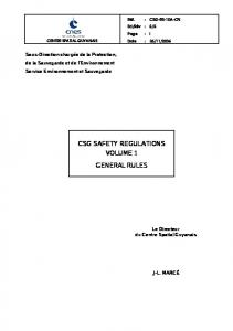 CSG SAFETY REGULATIONS VOLUME 1 GENERAL RULES