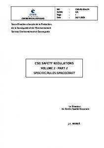 CSG SAFETY REGULATIONS VOLUME 2 - PART 2 SPECIFIC RULES SPACECRAFT