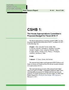 CSHB 1: HOUSE RESEARCH ORGANIZATION. The House Appropriations Committee s Proposed Budget for Fiscal