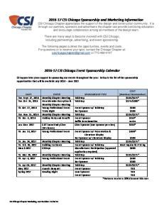 CSI Chicago Event Sponsorship Calendar