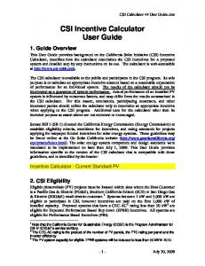 CSI Incentive Calculator User Guide