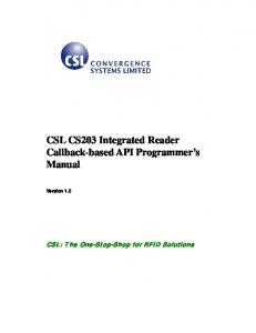 CSL CS203 Integrated Reader Callback-based API Programmer s Manual