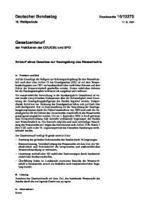 CSU und SPD. Entwurf eines Gesetzes zur Neuregelung des Wasserrechts