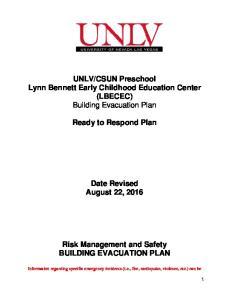 CSUN Preschool Lynn Bennett Early Childhood Education Center (LBECEC) Building Evacuation Plan. Ready to Respond Plan
