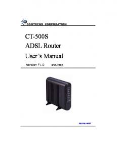 CT-500S ADSL Router User s Manual