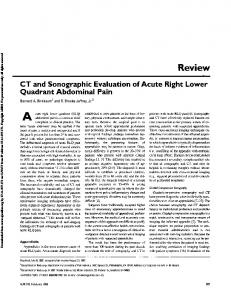 CT and Sonographic Evaluation of Acute Right Lower Quadrant Abdominal Pain