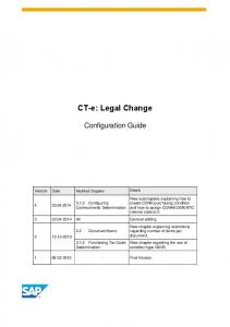 CT-e: Legal Change. Configuration Guide. Version Date Modified Chapters Details