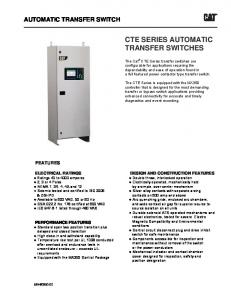 CTE SERIES AUTOMATIC TRANSFER SWITCHES
