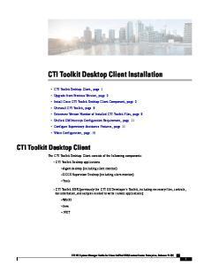 CTI Toolkit Desktop Client Installation