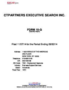 CTPARTNERS EXECUTIVE SEARCH INC