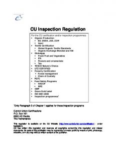CU Inspection Regulation