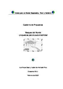 Cuaderno de Propuestas. Bosques del Mundo -propuestas para la sustentabilidad