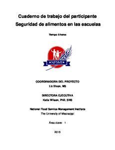 Cuaderno de trabajo del participante Seguridad de alimentos en las escuelas
