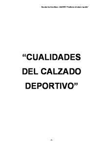 CUALIDADES DEL CALZADO DEPORTIVO