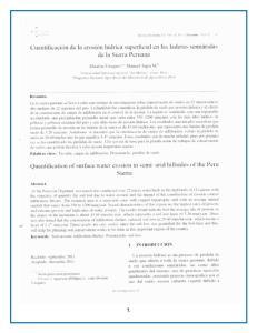 CUANTIFICACION DE LA EROSION HIDRICA SUPERFICAL EN LAS LADERAS SEMIARIDAS DE LA SIERRA PERUANA