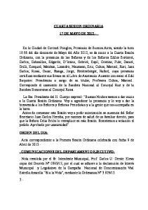 CUARTA SESION ORDINARIA 17 DE MAYO DE