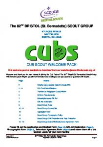 CUB SCOUT WELCOME PACK