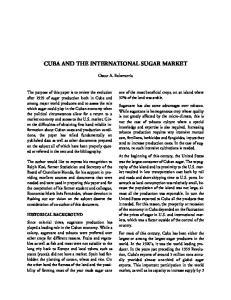 CUBA AND THE INTERNATIONAL SUGAR MARKET