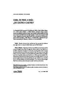 CUBA, DE FIDEL A RAÚL: DE CASTRO A CASTRO?