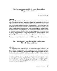 Cuba hacia un nuevo modelo de desarrollo socialista. El papel de los sindicatos