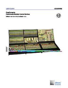 CueConsole CueConsole Modular Control Surface. Edition: for CueStation 4.6.0
