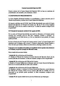Cuenta General del Ejercicio 2012